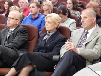 This is a photo of Mark Boughton (left), Martha Dean and Mark Lauretti before the debate