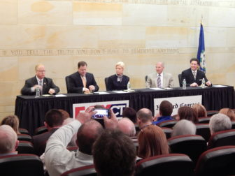 This is a photo of GOP candidates debating.