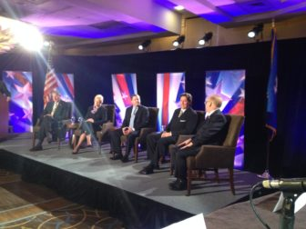 GOP candidates for governor debated in Stamford. From left, Mark Lauretti, Martha Dean, John McKinney, Joe Visconti and Mark Boughton.