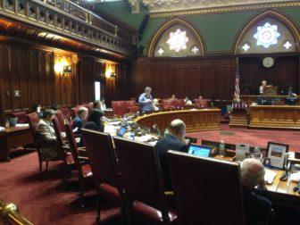 Sen. Beth Bye explaining the early childhood bill.