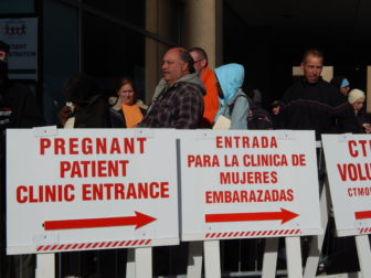 The line outside the XL Center, where the Connecticut Mission of Mercy held its annual free dental clinic.