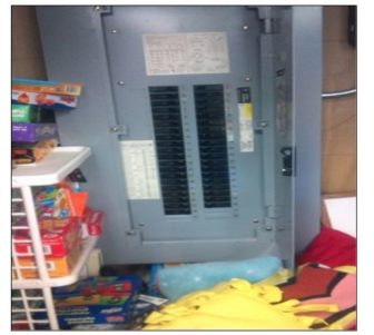 This is a photo of A fuse box located in a classroom, accessible to children, in a day-care center that had been inspected by the state.