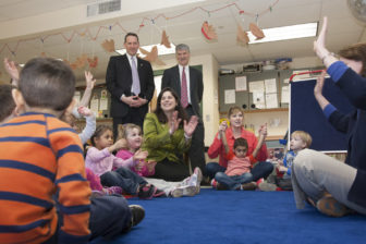 "Three state senators visit a prekindergarten classroom in Middletown to highlight their plan the day after introducing ""Smart Start."""