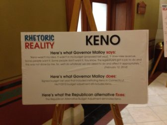 A sign outside the Senate GOP caucus mocked Malloy for his indecision on keno.