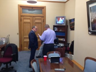 House Majority Leader Joe Aresimowicz, right, in House Minority Leader Lawrence F. Cafero's outer office.