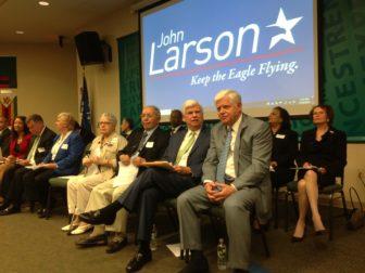 U.S. Rep. John B. Larson, right, with former Sen. Chris Dodd on Wednesday.