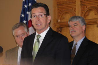 Gov. Dannel P. Malloy with the speaker of the House and Senate president pro tem