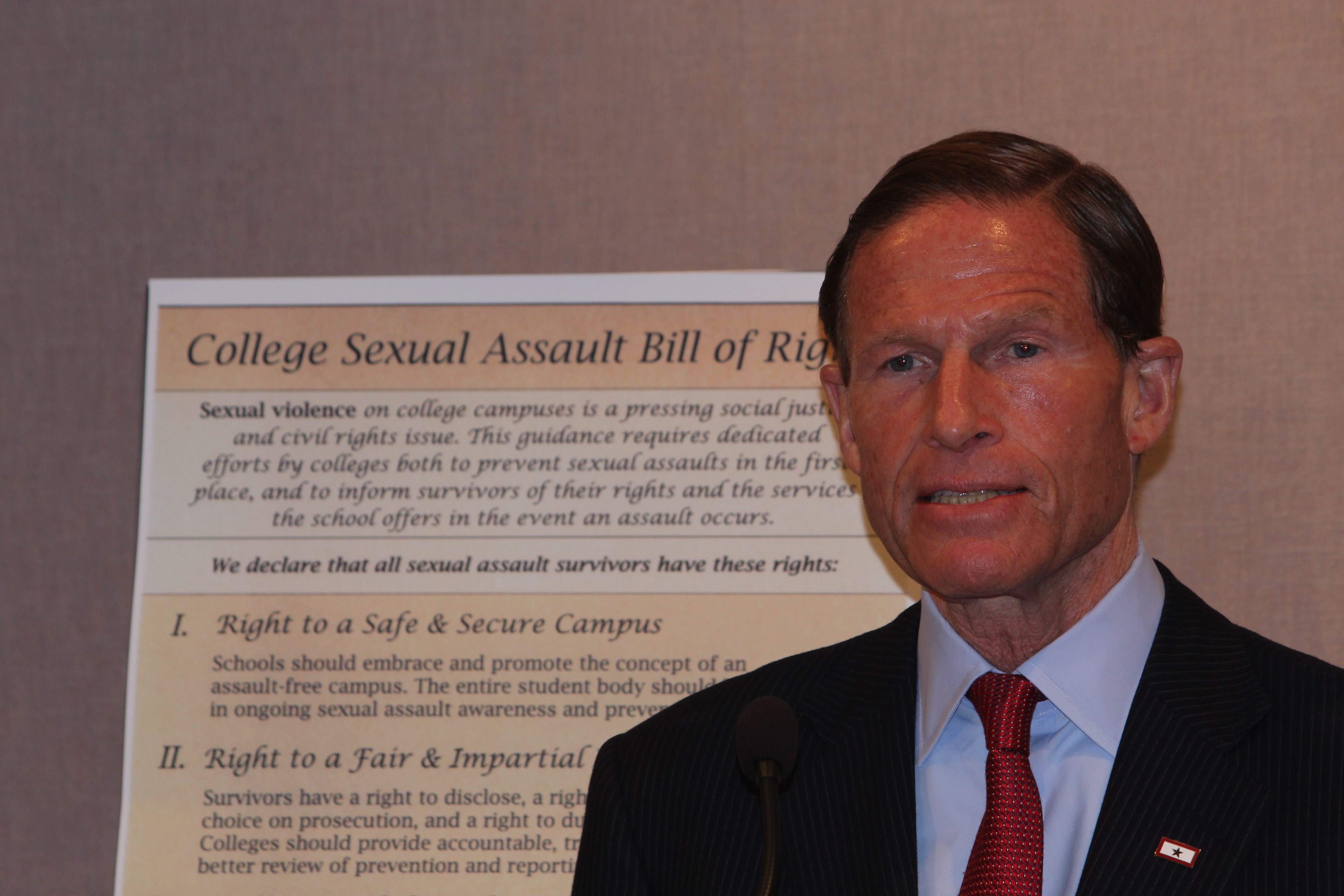 Blumenthal wants 'bill of rights' for college victims of sexual violence