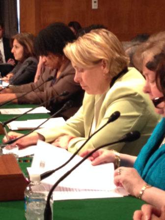 Lori Pelletier, head of the Connecticut AFL-CIO, testifying at Tuesday's Senate hearing.
