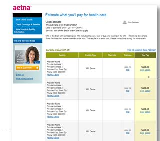 This is A sample page from Aetna's Member Payment Estimator, an online tool for finding out what care will cost.