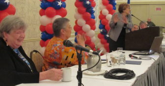 AFT was prominently featured on stage: Sharon Palmer, Melodie Peters and Randi Weingarten.