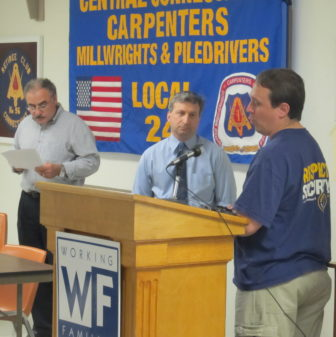 Jonathan Pelto taking questions. Behind him is Sal Luciano, the WFP, AFSCME and AFL-CIO leader.