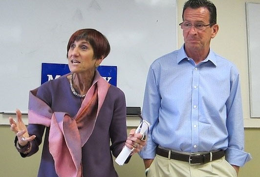 U.S. Rep. Rosa DeLauro and Gov. Dannel Malloy during a recent visit to New Haven.