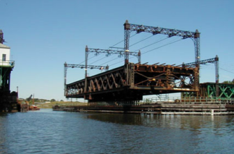 The swing bridge shown in the open position over the Norwalk River
