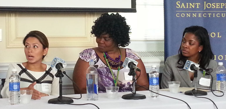CCSN Program Coordinator Solandy Meza-Forte (left), speaks as AFCAMP advocate Brenetta Henry (center) and Autism Speaks Vice President Jamitha Fields (right).