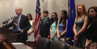 Former Sen. Joseph I. Lieberman and his scholarship winners.
