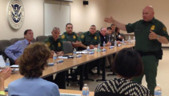 Sen. Richard Blumenthal, seated at left, tweeted this photo of him hearing from U.S. Border Patrol officials during his visit to the Texas border Friday.