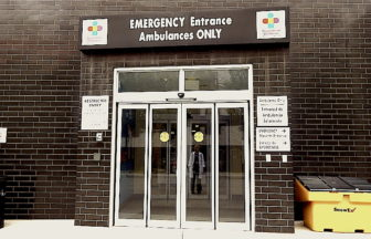 The emergency department entrance at Connecticut Children's Medical Center in Hartford.