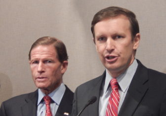 Connecticut U.S. Sens. Christopher Murphy, right, and Richard Blumenthal