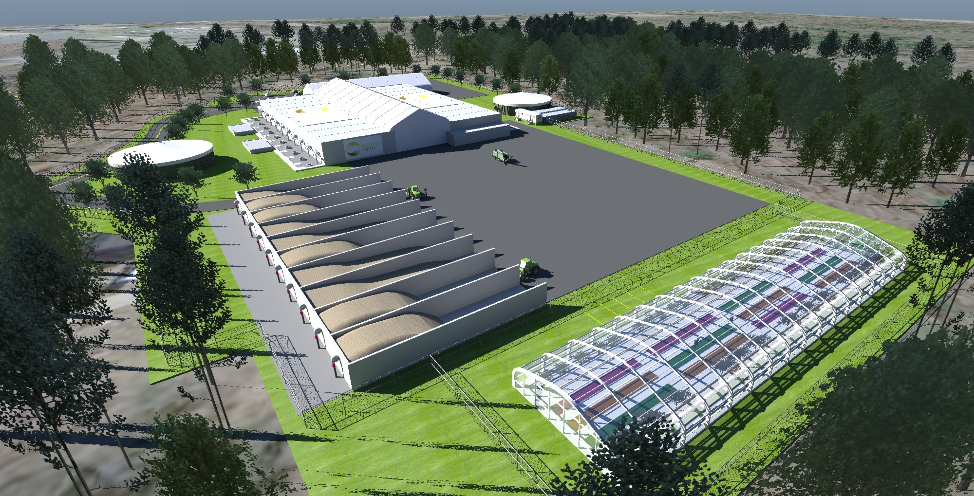 Rendering for food waster anaerobic digester planned in Southington by Turning Earth Central Connecticut. It would use 50,000 tons of food waste and 25,000 tons of other organic wast to generate 1.4 megawatts of power.