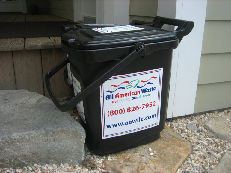 Outdoor food waste containers are provided free of charge to Bridgewater residents participating in a curbside food waste pickup pilot program.