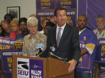 Gov. Dannel P. Malloy and Lt. Gov. Nancy Wyman accepting the SEIU endorsement.