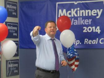 John P. McKinney opened his headquarters Tuesday.
