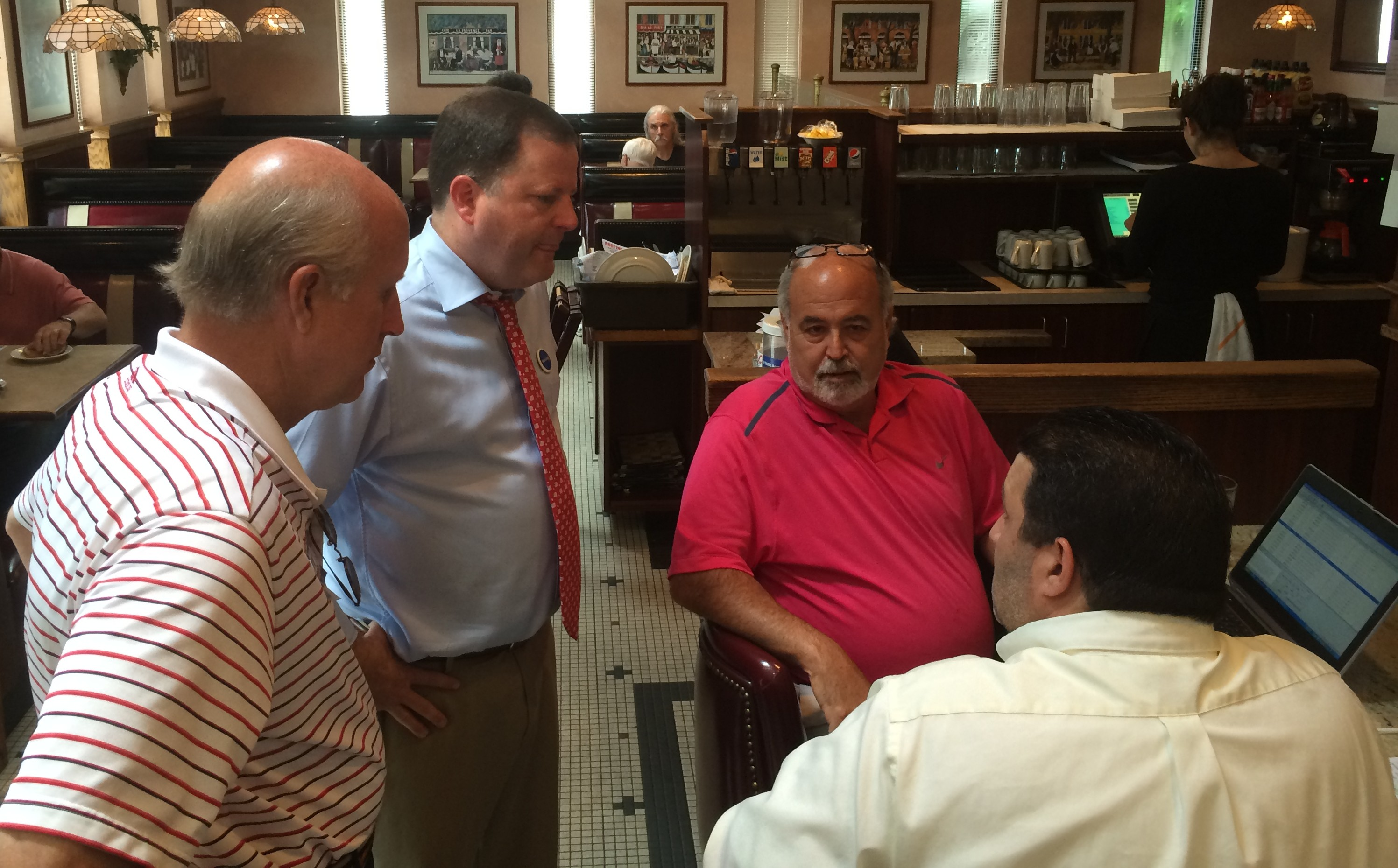 John P. McKinney and David M. Walker campaign at the Plaza Diner in Shelton.