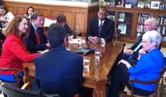 U.S. Transportation Secretary Anthony Foxx, center, met in Hartford last week with Connecticut officials.
