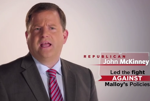 McKinney hits Malloy, Foley in his first TV ad