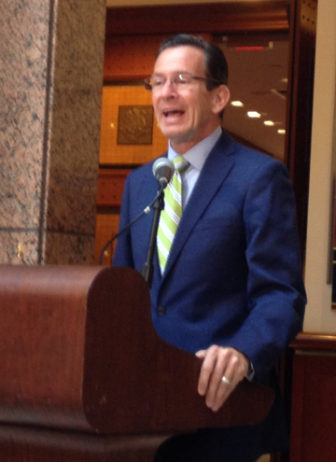 Gov. Dannel Malloy at Friday's briefing.