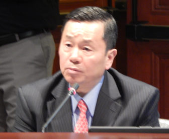 UConn Provost Mun Choi at Tuesday's legislative briefing.