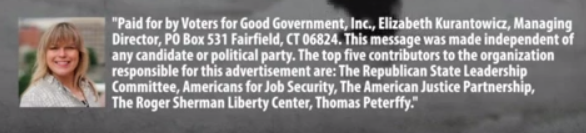 Liz Kurantowicz in disclaimer on Voters for Good Government ad in 2012.