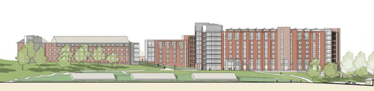 The right-hand structure is an artist's rendering of the propsed new STEM residence hall on the Storrs campus.