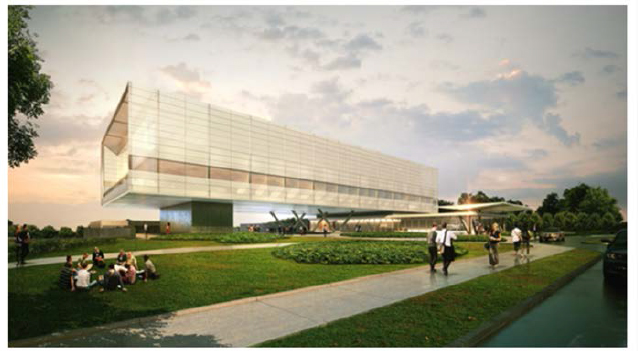An artist's rendering of the innovation center proposed on UConn's main campus in Storrs.