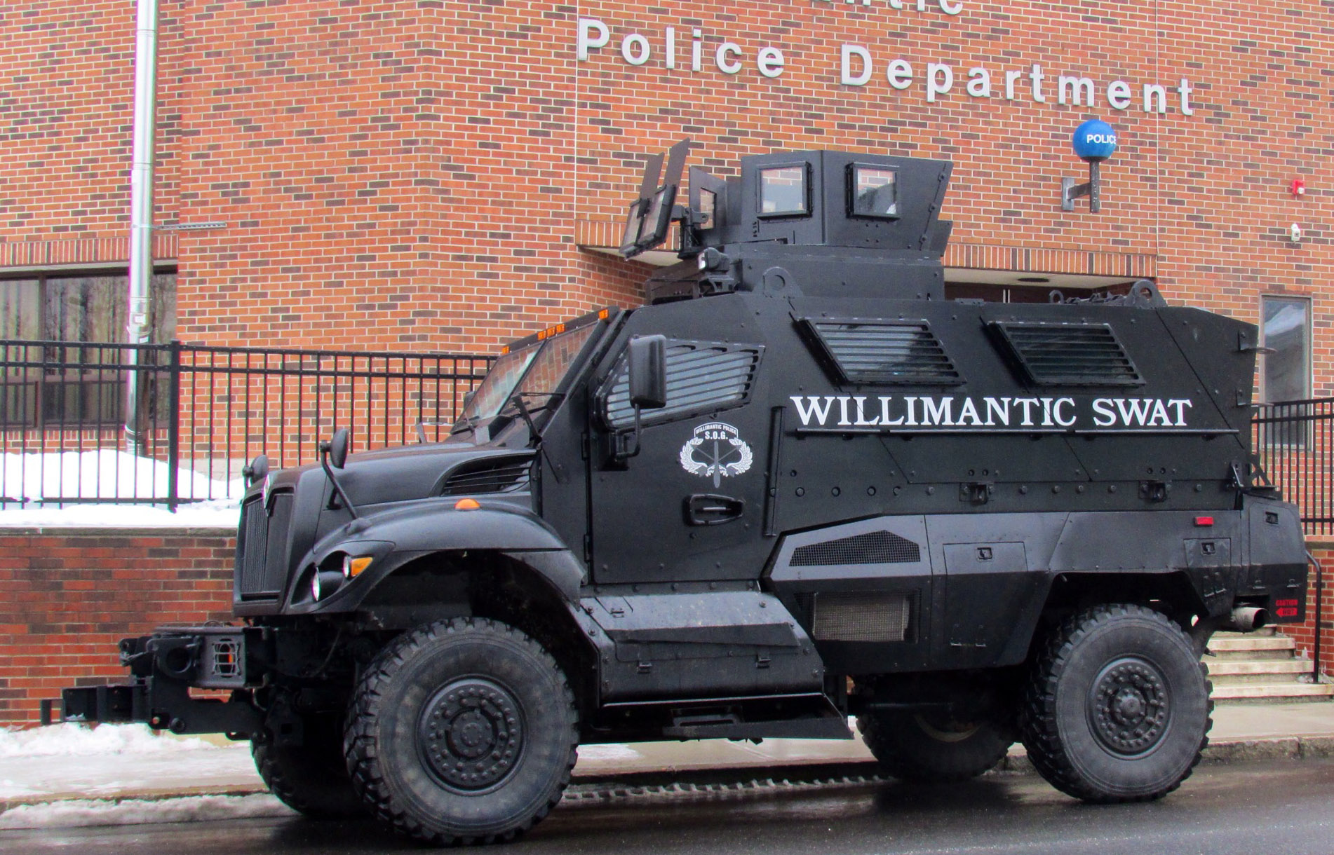 The Willimantic Police Department's SWAT vehicle given to the town by the Department of Defense.