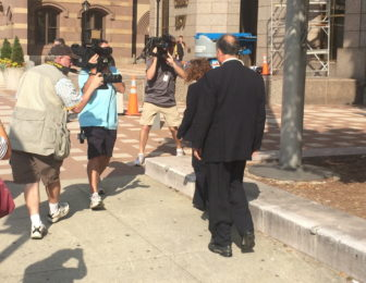 Brian Foley leaving court Friday. His testimony will continue Monday.