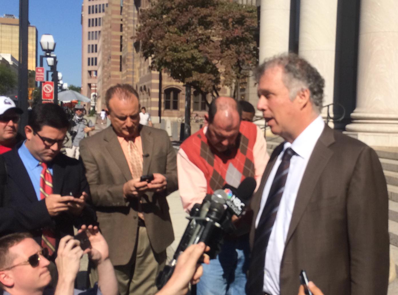 Reid H. Weingarten tells reporters Rowland will appeal.