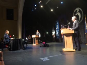 Gov. Dannel P Malloy and Tom Foley kept their distance at this debate.