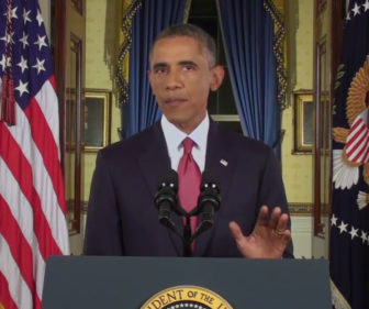 President Obama delivering his address from the White House.