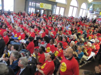 Hundreds of supporters of a public health insurance option rallied in April 2011, hoping to convince Malloy and other leaders to embrace the plan. He didn't.