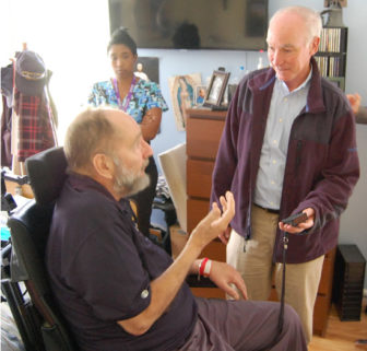 U.S. Rep. Joe Courtney, D-2nd, visiting with U.S. Navy veteran Peter Reenstra of Colchester.