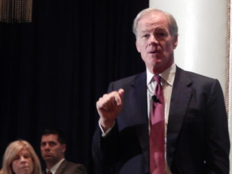 GOP gubernatorial candidate Tom Foley talks with Hartford business leaders at Capital Community College