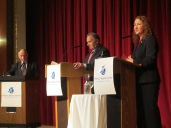 From left, Elizabeth Esty, Mark Greenberg and moderate Jonathan Kellogg