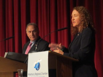 Greenberg and Esty at their second and final debate.