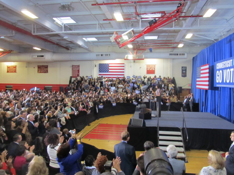 Michelle Obama at Wilbur Cross High In New Haven.