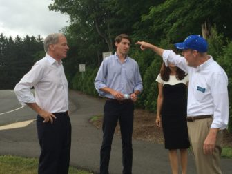Foley with his son, Thomas Jr., talking to Sen. Joe Markley outside a polling place during the GOP primary.