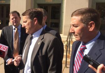 GOP chairman Jerry Labriola Jr., flanked by Sens. John McKinney and Len Fasano.