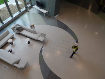 This is a picture of a double helix pattern on the floor of the lobby at the Jackson Laboratory's new building.
