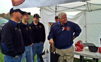 U.S. Rep. John Larson at a recent campaign stop with Granby's Lost Acres Volunteer Fire Dept.